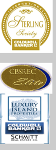 "Three logo's, Sterling society coldwell banker, Coldwell Banker Schmitt Real Estate Club ""elite"", and Luxury Island Properties Etc."
